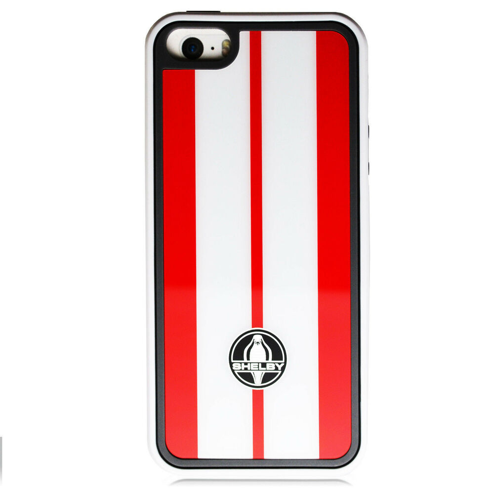 For iPhone 5 5S Licensed Ford Mustang Shelby Cobra Red Stripes Cover ...
