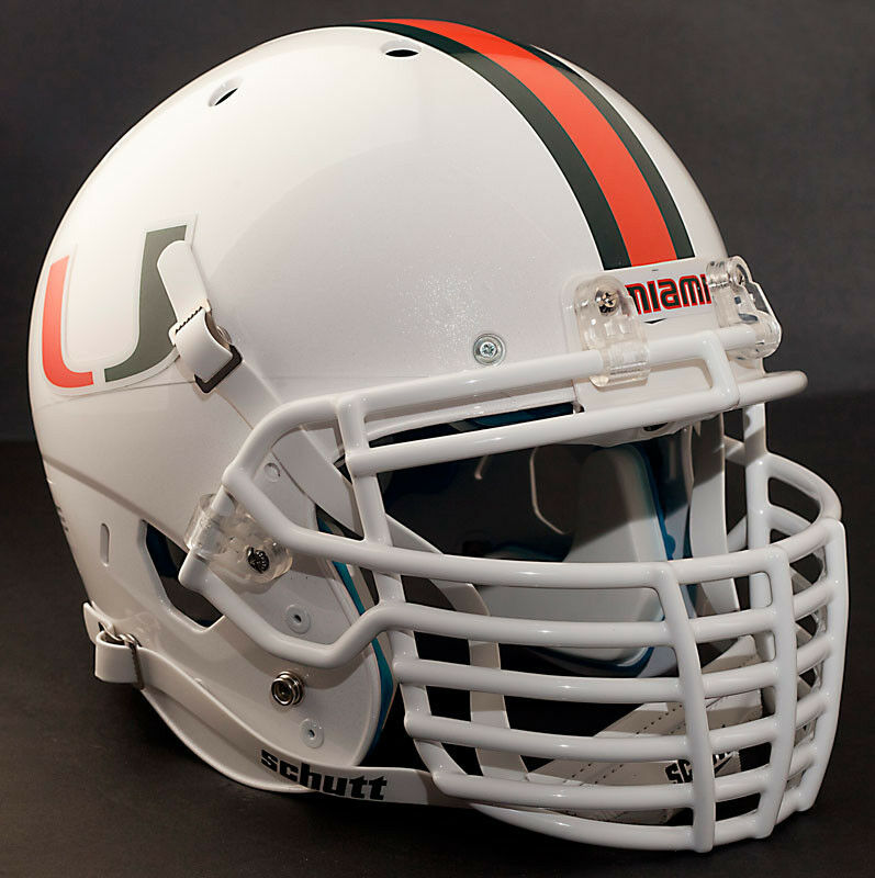 Football Helmet Grill : Custom miami hurricanes schutt air xp replica football