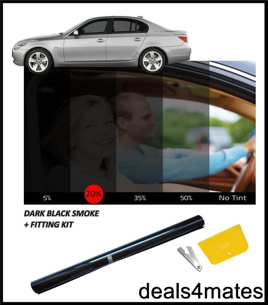 Car window tint film tinting dark black smoke 20 76cm x for Window tint film