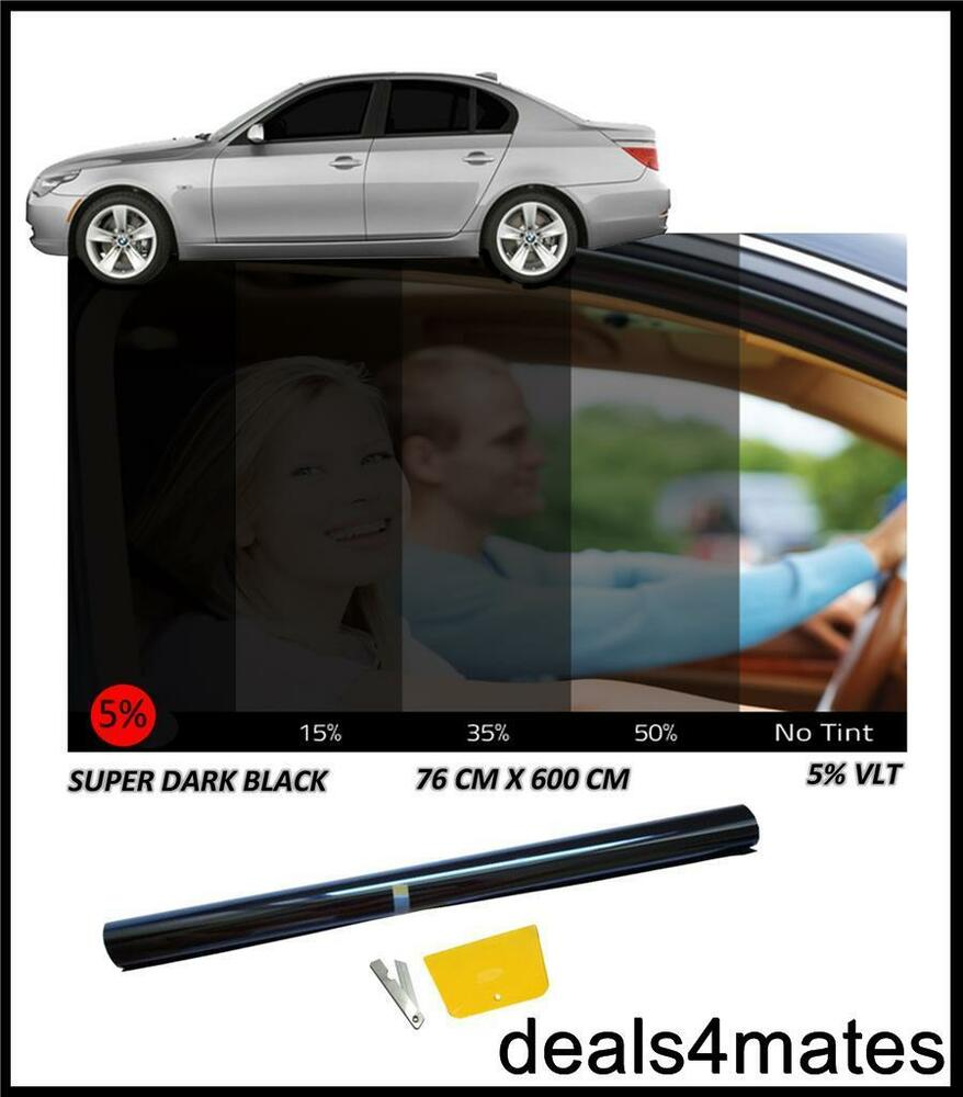 Car Van Bus Window Tint Film Tinting Limo Super Dark Black