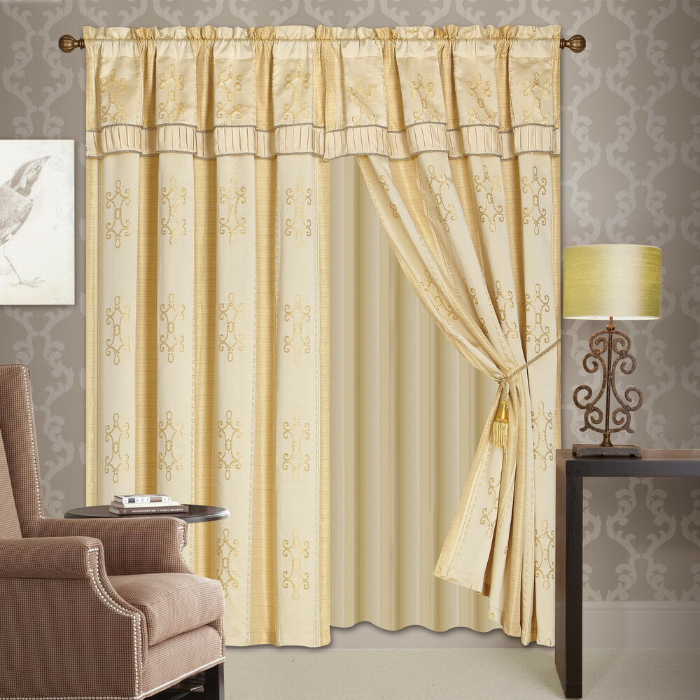 Frilled Kitchen Curtains Lined: Luxury Lined Curtain Drapes Set +Valance Window Treatment