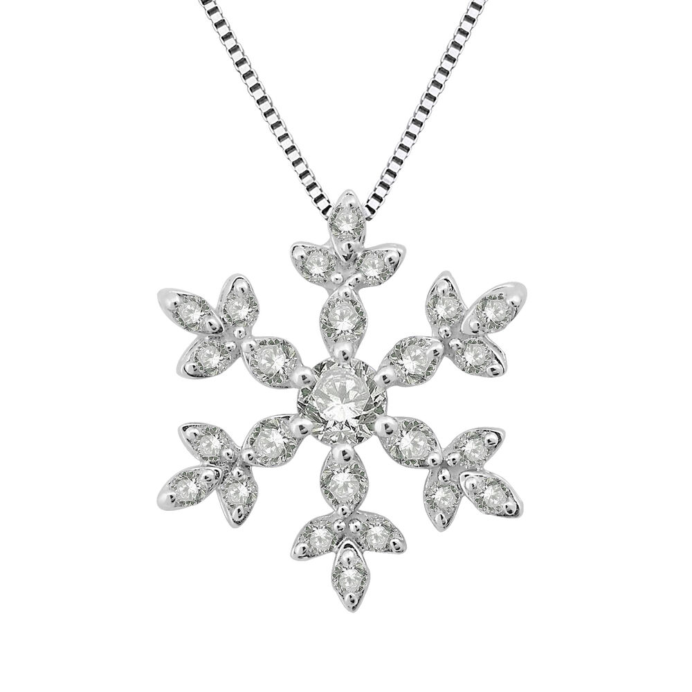 14k white gold snowflake pendant necklace 0 29