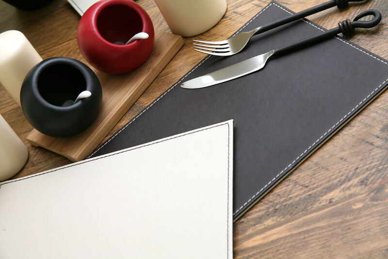 Set Of 4 Brown Cream Faux Leather Reversible Placemats