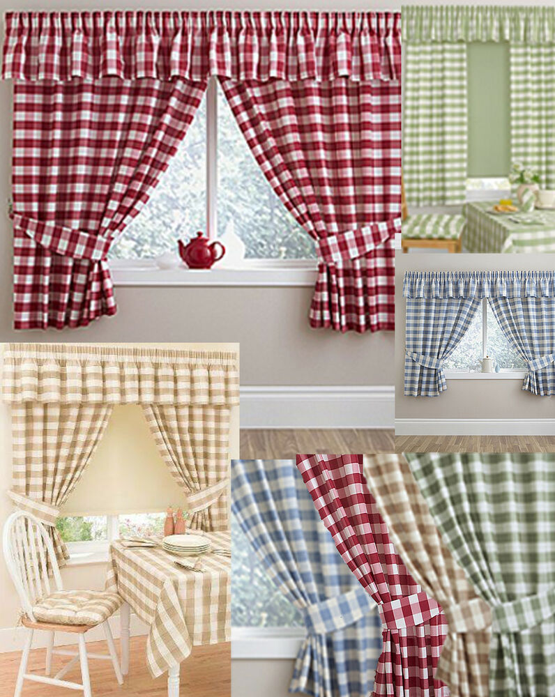 Gingham Checked Kitchen Curtains Matching Pelmet Conservatoryutility