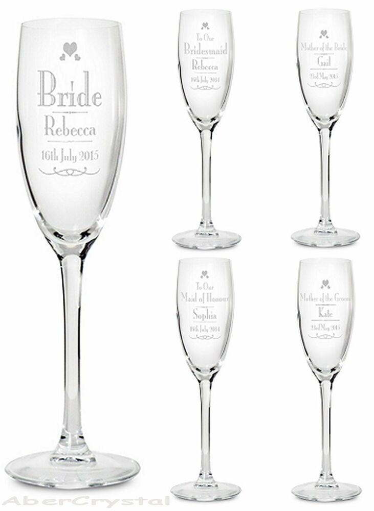Personalised Wedding Gift Glasses : Personalised Engraved Wedding Glass Gift Favour Champagne Flute ...