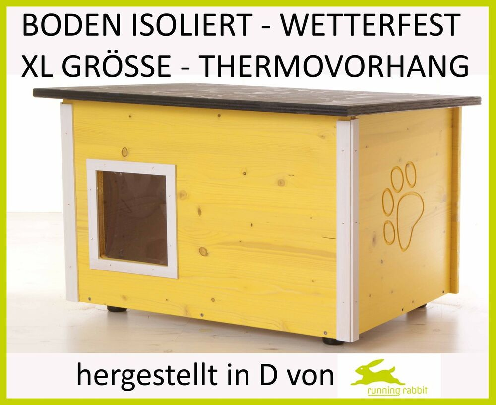 katzenhaus mit bodenisolierung wetterfest xl thermovorhang katzenh tte ebay. Black Bedroom Furniture Sets. Home Design Ideas