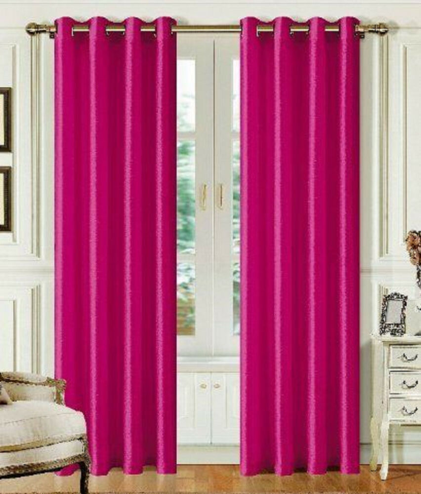 "FAUX SILK Window Treatments Curtains Drape GROMMETS 95"" 84 ..."