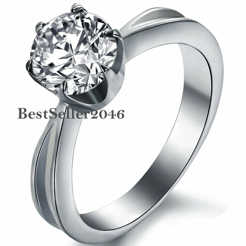 Stainless Steel 6mm Round CZ Solitaire Engagement Wedding Ring | EBay