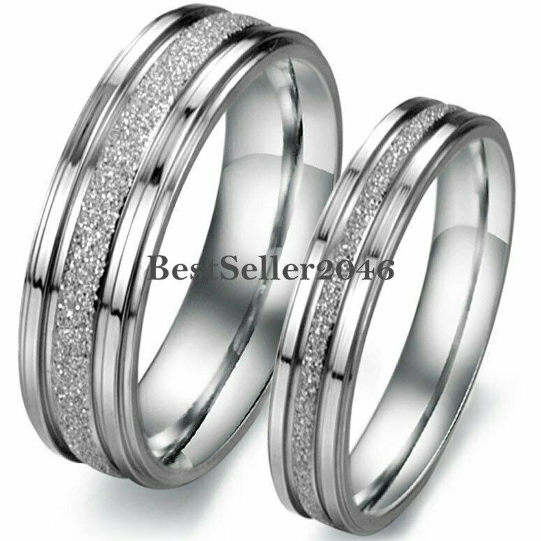 couple wedding rings silver tone stainless steel frosted centered wedding band 3138