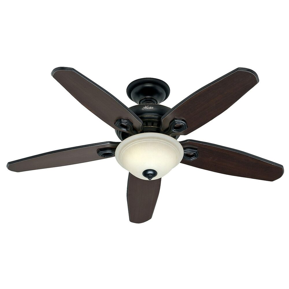 Hunter 52 In  Basque Black Ceiling Fan With Light  U0026 Remote