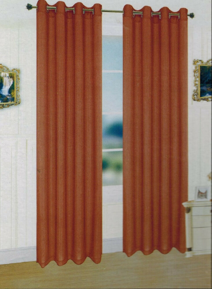 Two panels rust window faux silk grommet curtain drapes 63 for Where to buy curtain panels