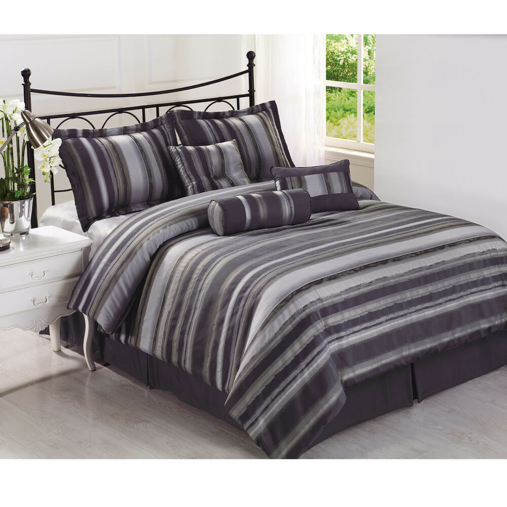 rogers 7pc jacquard multi shades of grey comforter set 11714 | s l1000