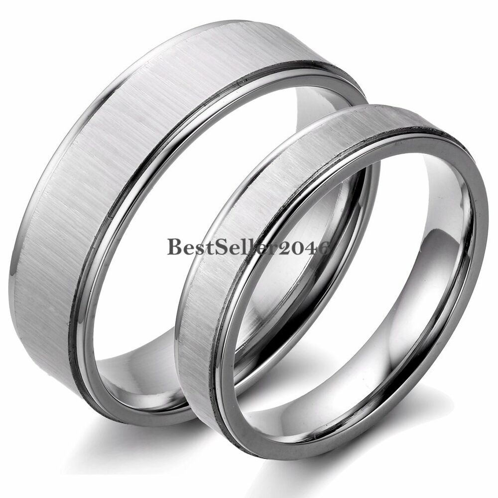 Silver Tone Stainless Steel Couples Wedding Band Engagement Ring Brushed Center | EBay