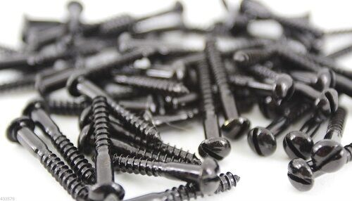 Black Japanned Slotted Round Dome Head Wood Screws All