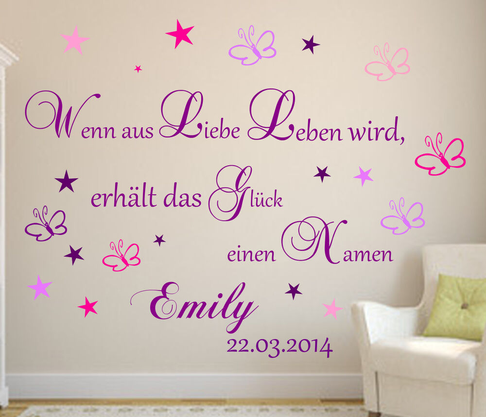wandtattoo kinderzimmer wenn aus liebe leben wird baby. Black Bedroom Furniture Sets. Home Design Ideas