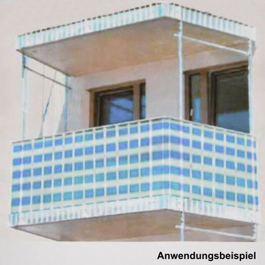 balkon sichtschutz 5x0 9m blau wei windschutz windfang blende balkonsichtschutz ebay. Black Bedroom Furniture Sets. Home Design Ideas
