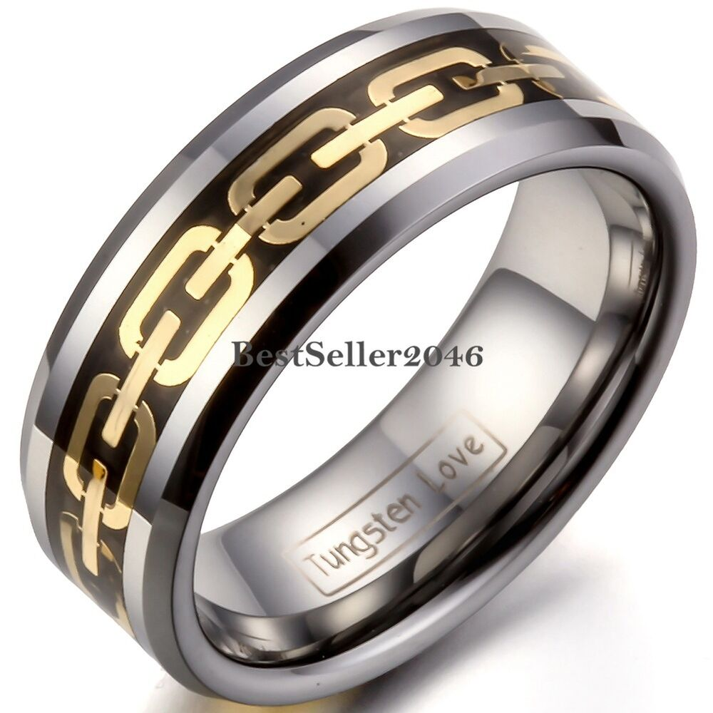 8mm tungsten carbide ring black inlay gold tone chain. Black Bedroom Furniture Sets. Home Design Ideas
