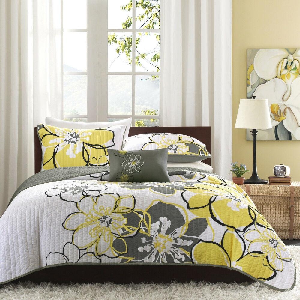 beautiful modern chic grey yellow white floral flower texture soft quilt set ebay. Black Bedroom Furniture Sets. Home Design Ideas