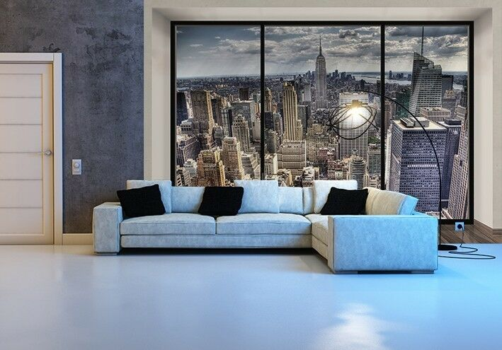 giant wallpaper photo new york skyline wall mural decor paper poster. Black Bedroom Furniture Sets. Home Design Ideas