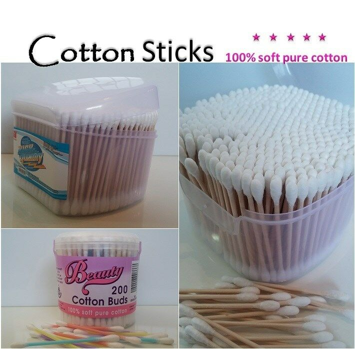New Wooden Handle Cotton Sticks Buds Swabs Ear Cleaning