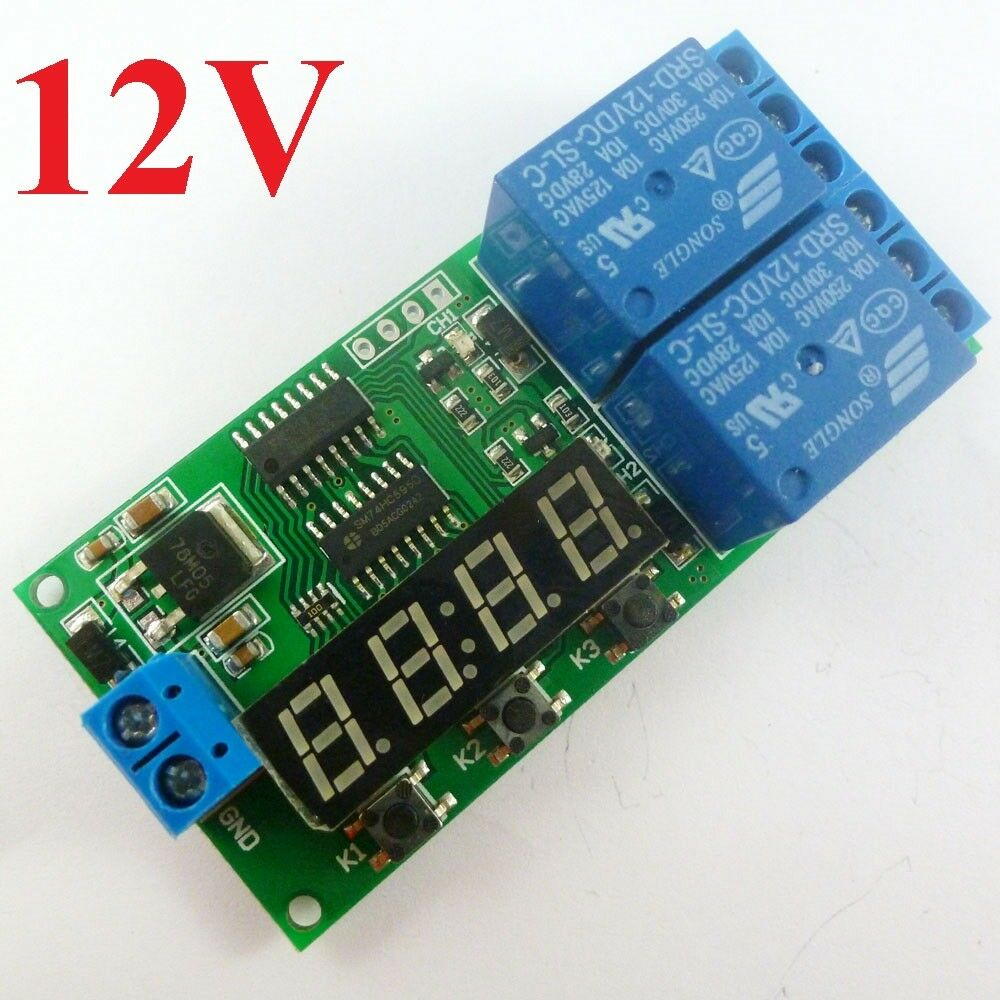 Dc 12v 9 function delay relay controller motor reverse for Timer switch for motor