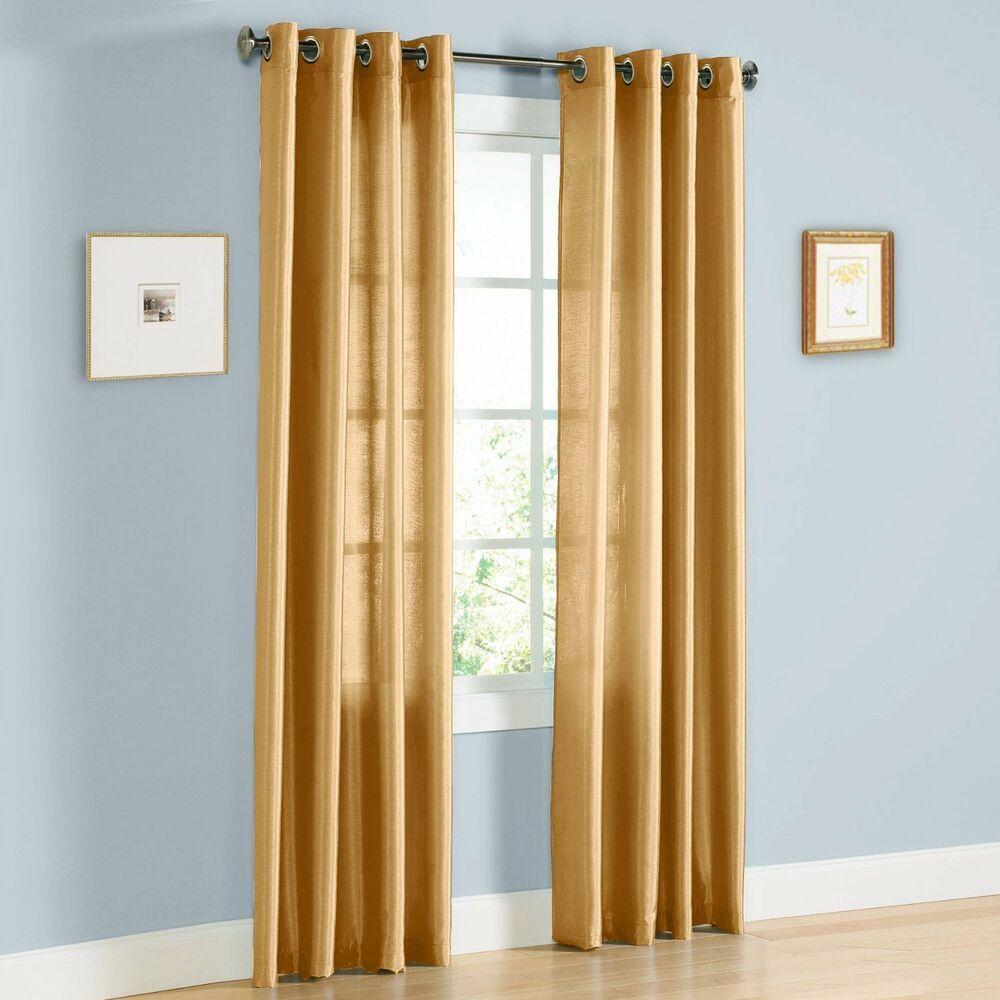 "Two Panels Gold Window Faux Silk Grommet Curtain Drapes 84"" Length ..."