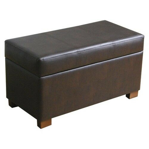 Threshold large storage ottoman chocolate ebay for Double storage ottoman bench