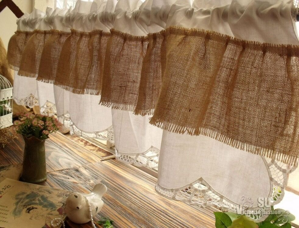72 quot ruffles shabby french country chic burlap window valance hand ribbon lace ebay