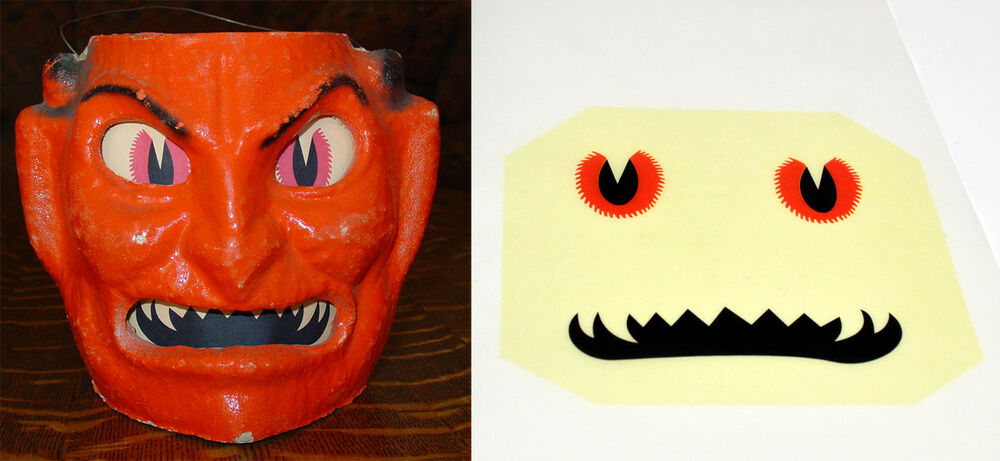 Glassine paper replacement face for small devil halloween for Papier mache lanterns