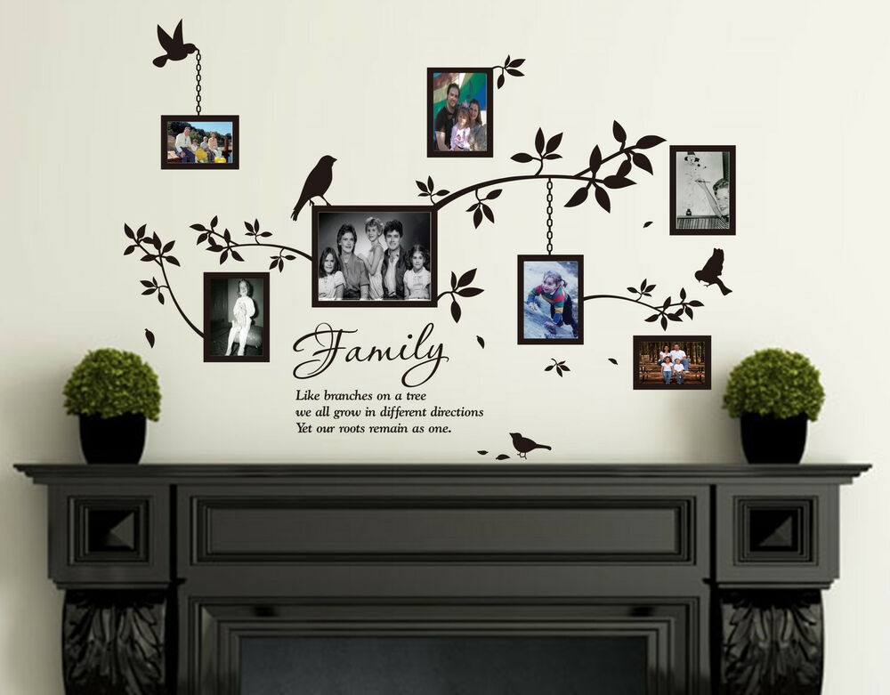 Photo Frame Family Tree Decal Wall Decals Wall Decor: Family Photo Frames With Birds & Quotes Wall Art Vinyl