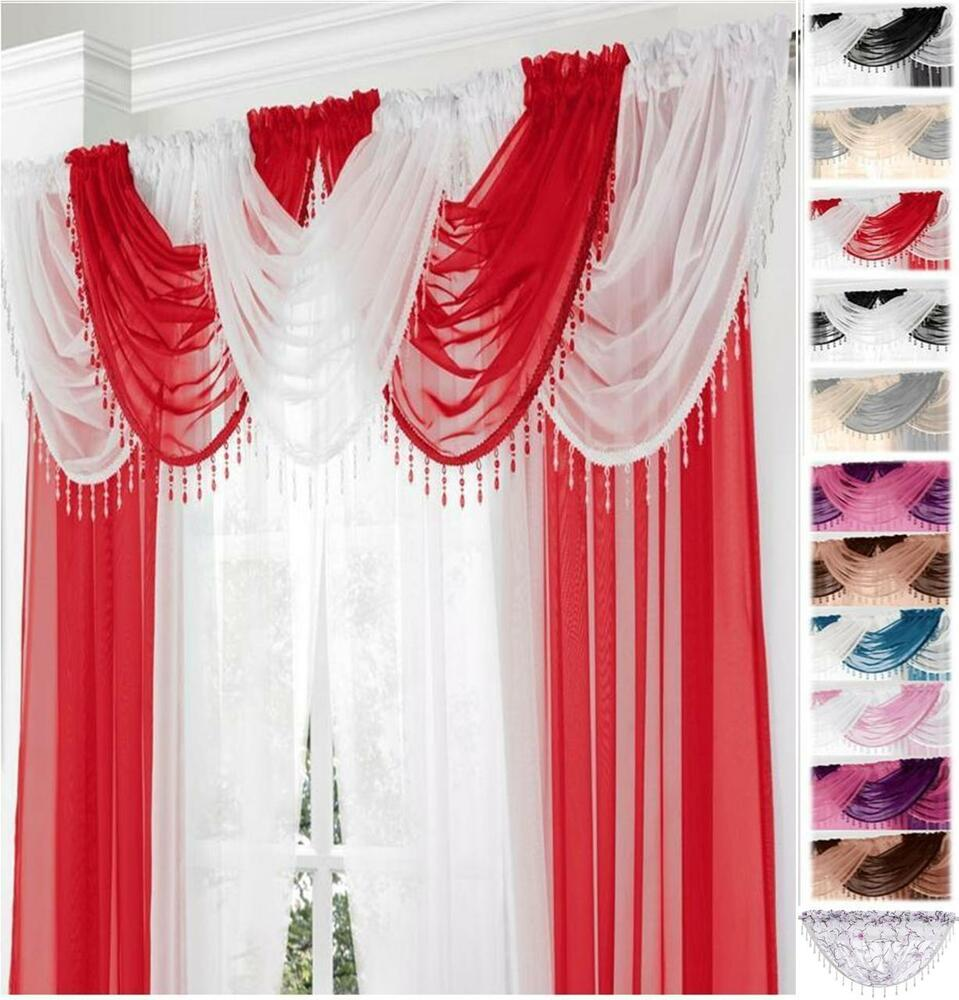 Kitchen Curtain Pelmets: GEMMA BEADED FRINGE ROUND VOILE SWAG SWAGS X1 Drape Pelmet