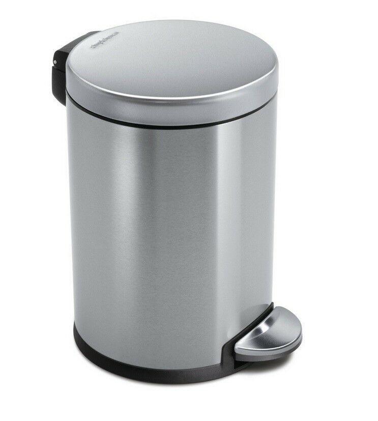 classic round step trash can for office or bathroom stainless steel 4