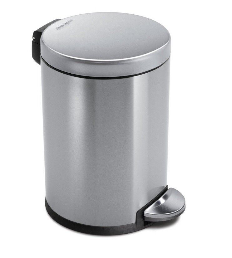 classic round step trash can for office or bathroom stainless steel 4 5 liters ebay. Black Bedroom Furniture Sets. Home Design Ideas