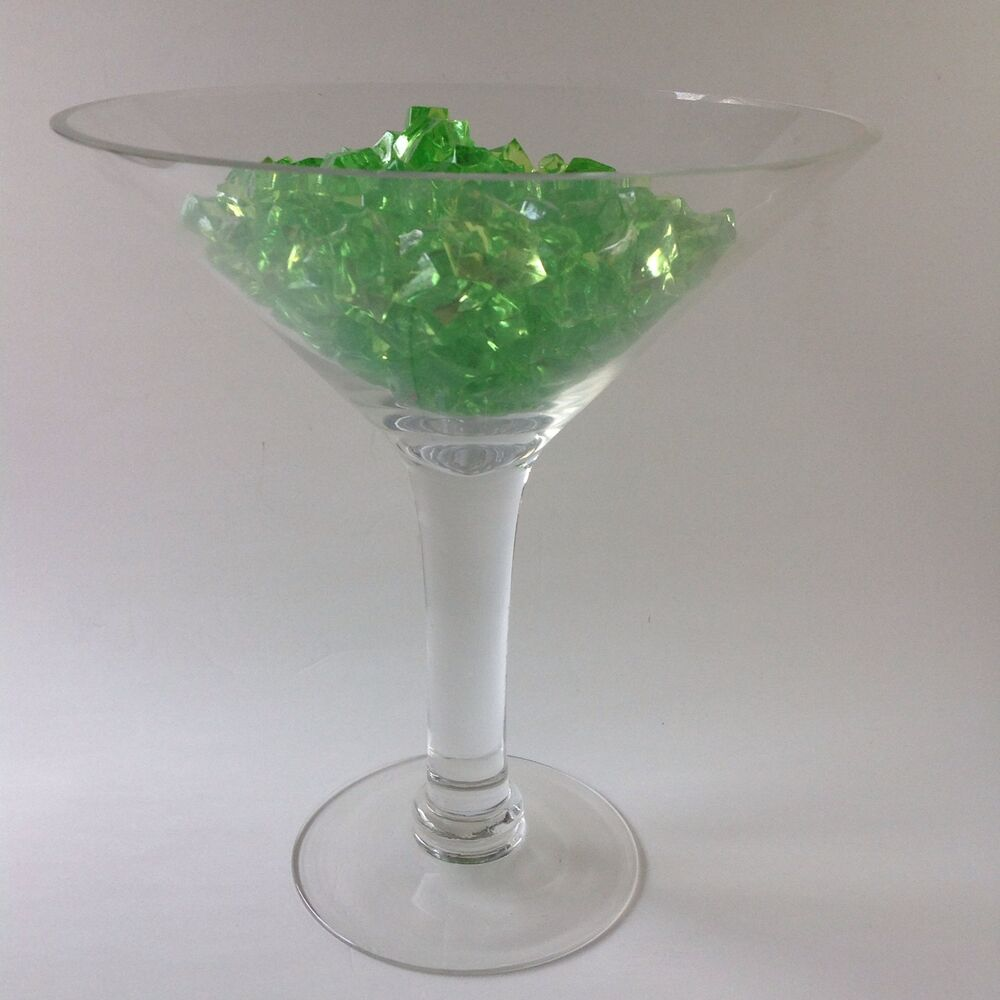 Huge martini glass bar tall drink green ice display giant