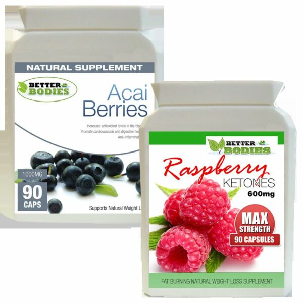 90 Raspberry Ketone 600mg 90 Acai Berry Ketones Combo Weight Loss Diet capsules