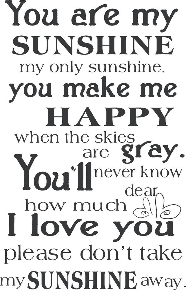 You Are My Sunshine Kids Vinyl Lettering Words Wall Art