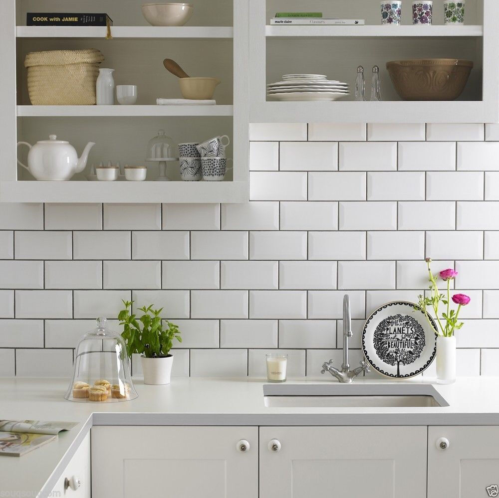 Gloss white metro bevelled brick kitchen ceramic wall How to put tile on wall in the kitchen