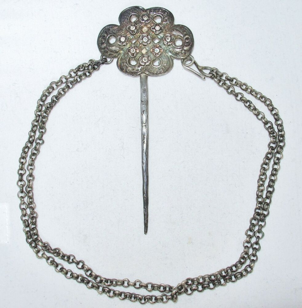 4 3 Quot Antique Chinese Silver Hair Pin With 13 5 Quot Chain