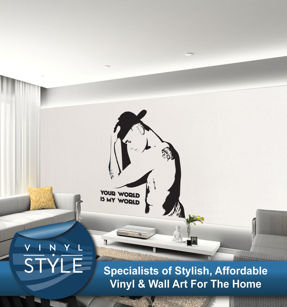 justin bieber my world 01 wall sticker wall art decal quote vinyl various colour ebay. Black Bedroom Furniture Sets. Home Design Ideas