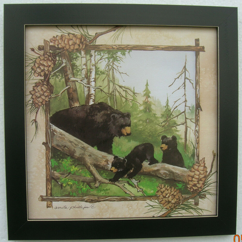Black bear prints cubs framed country picture print for Bear home decorations