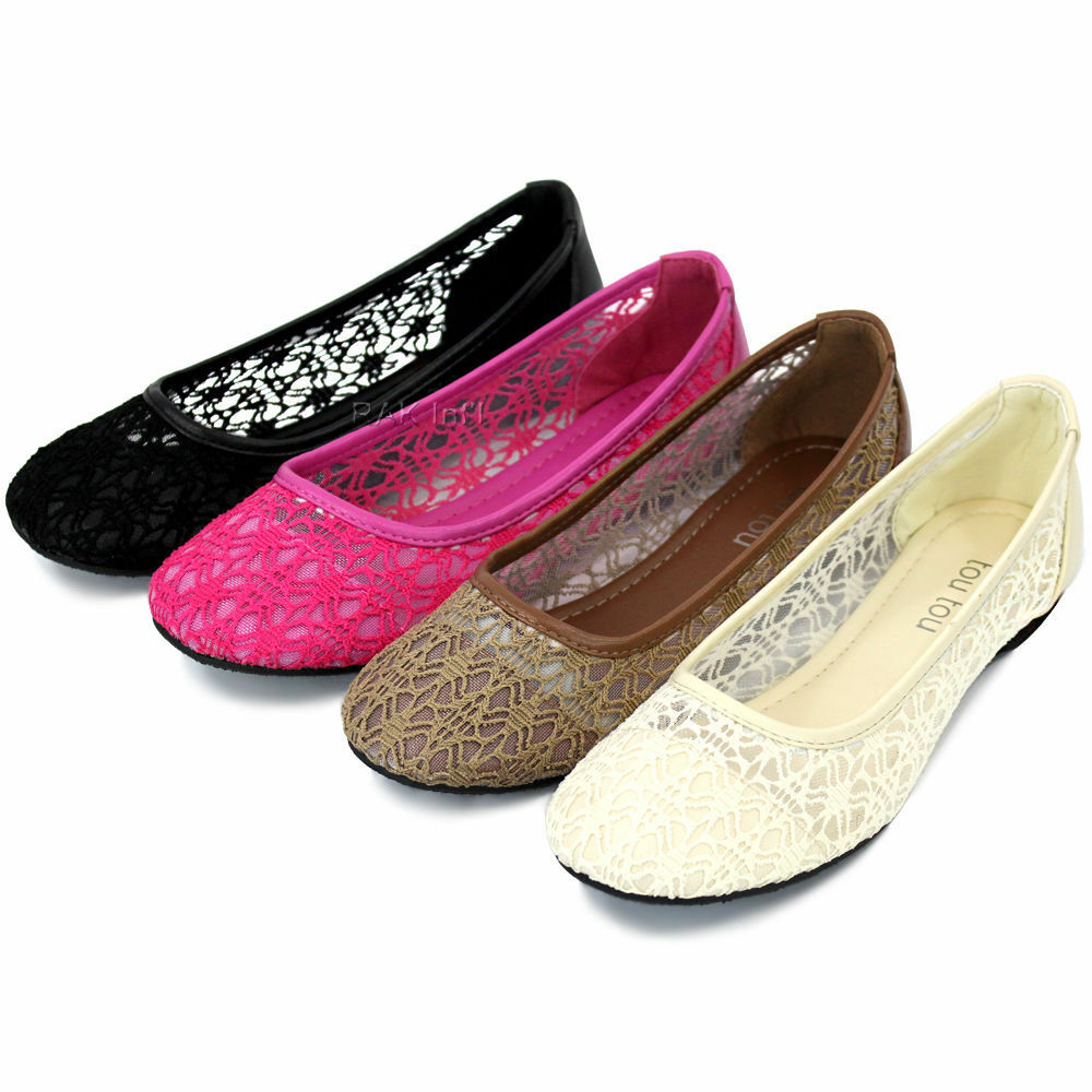 ballet lace mesh flat slip on shoes casual dress