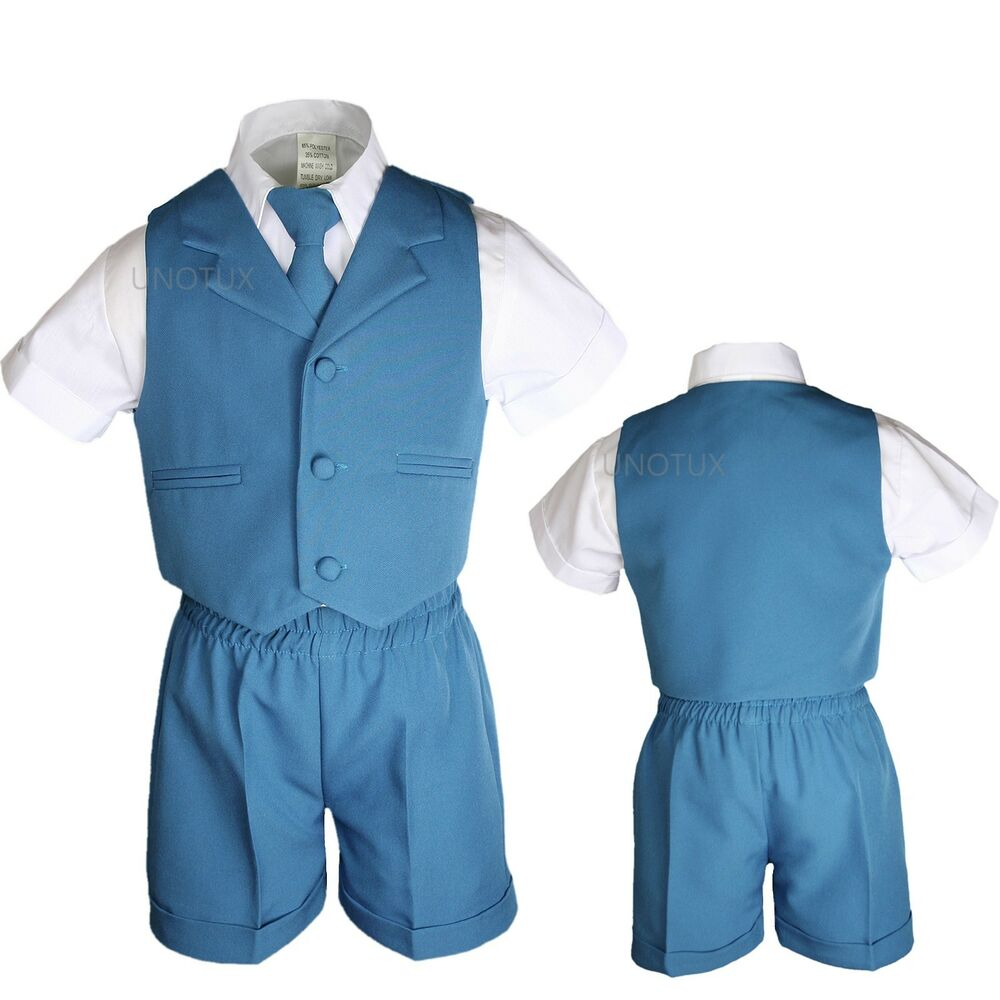 Baby Kid Formal Eton Teal Blue Green Turquoise 4pc Shorts