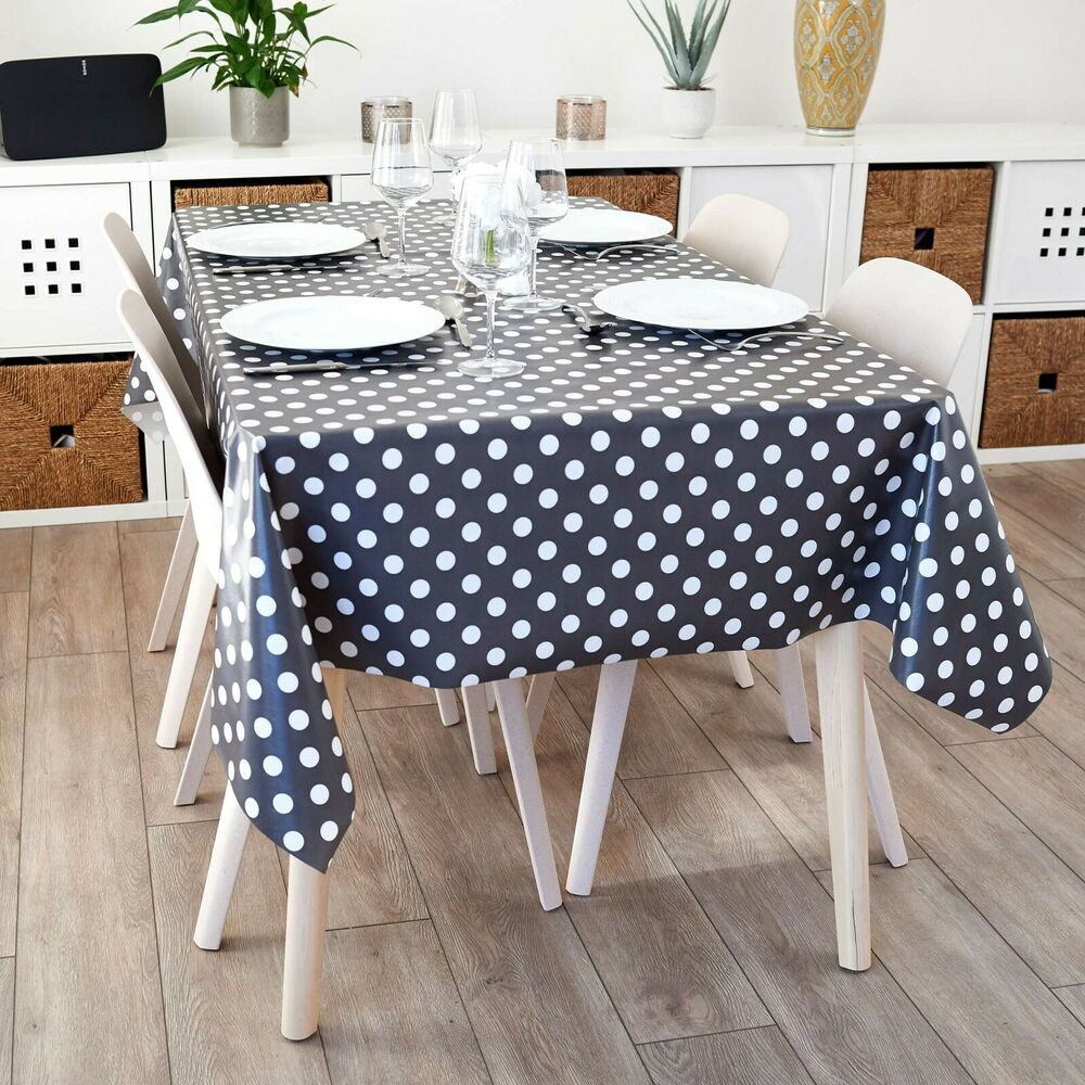 Dotty Smoke Grey Amp White Polka Dot Pvc Wipeclean Vinyl
