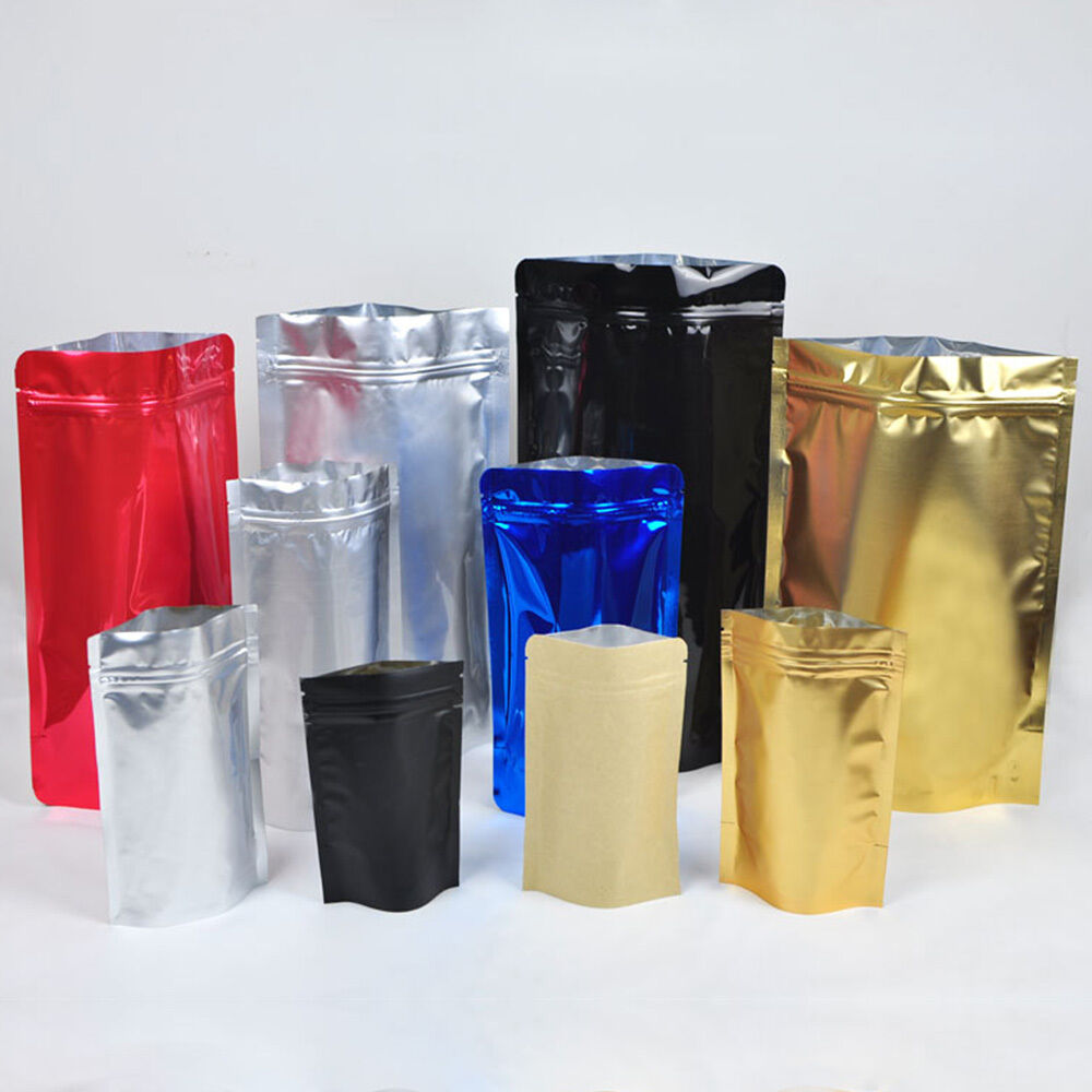 grip seal stand up zip lock bags mylar foil pouch assorted sizes colors c1 ebay. Black Bedroom Furniture Sets. Home Design Ideas