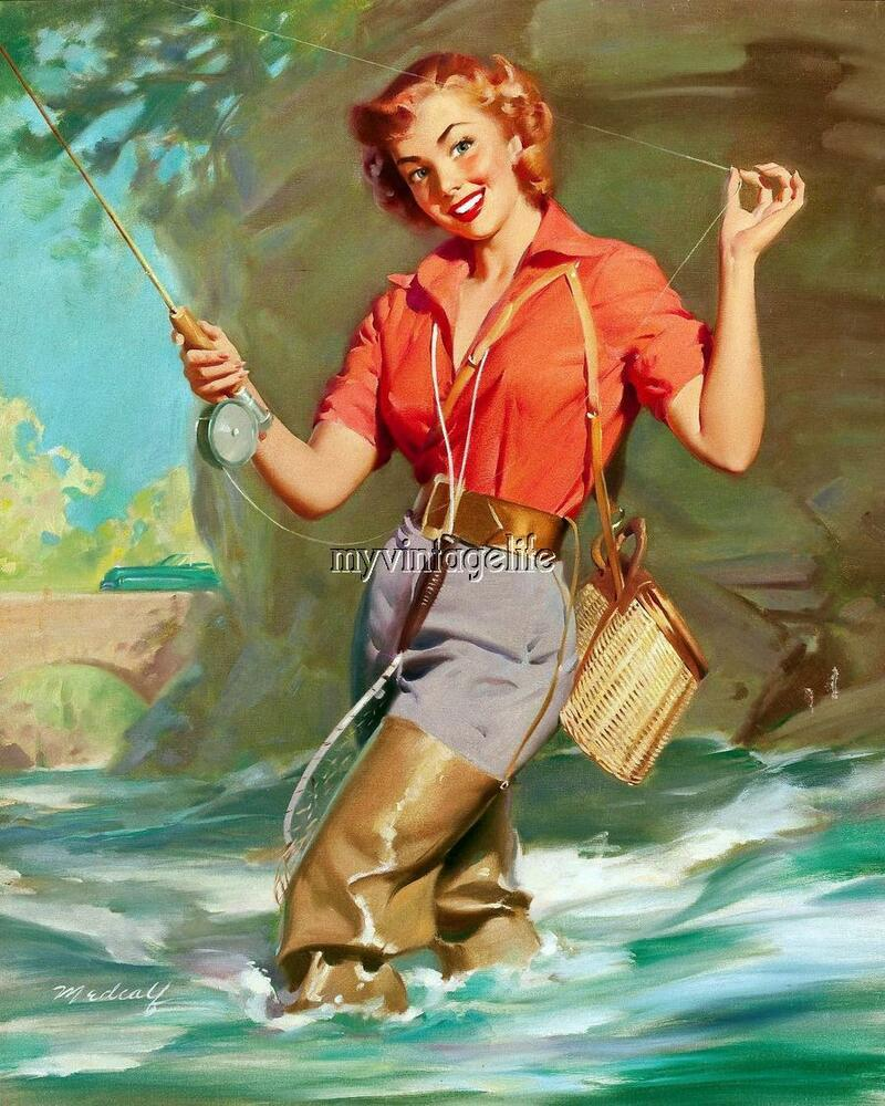 Vintage Pin Up Red Head Girl Fishing Retro 3 Sizes