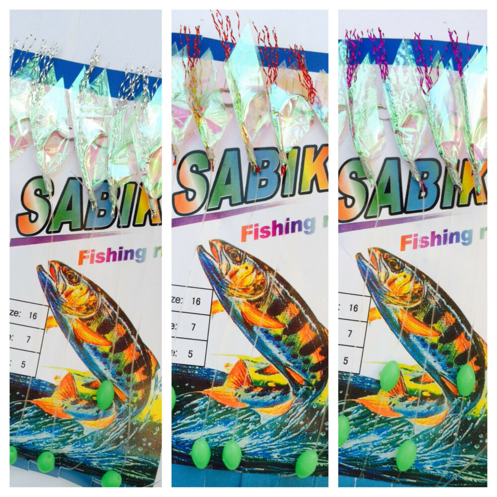3x sabiki 5 rainbow fur hair rigs baits fishing hook lures for Pier fishing rigs saltwater