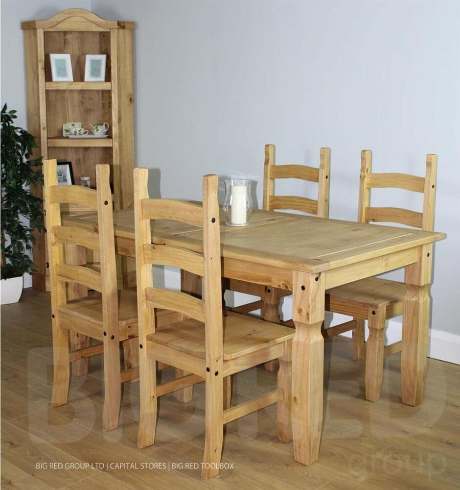Corona solid waxed pine 5ft dining set table with 4 chairs for 5ft dining room table