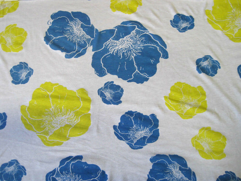 cotton fabric jersey knit by the yard flower print blue yellow ebay. Black Bedroom Furniture Sets. Home Design Ideas