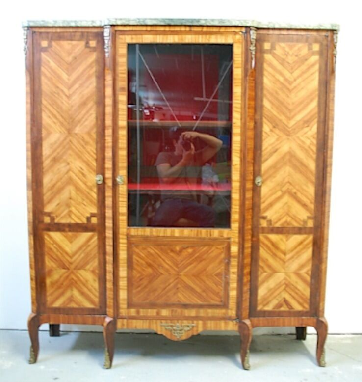 meuble argentier ancien vitrine marqueterie louis xv napoleon iii xix armoire ebay. Black Bedroom Furniture Sets. Home Design Ideas