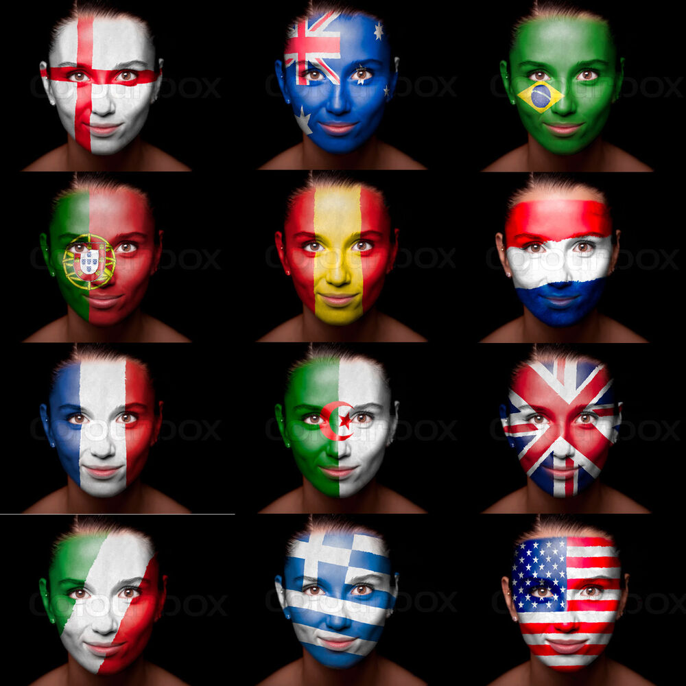 World Cup Football Face Paint ALL FLAGS England Brazil ...